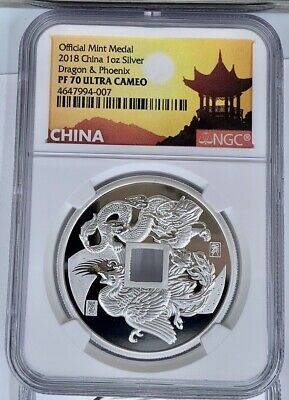 $129.99 • Buy 2018 China Dragon & Phoenix Official Mint Medal NGC PF70UCAM 1 Oz Silver
