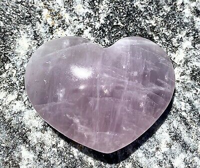 "$33 • Buy Natural Lavender Rose Quartz Heart 0.655 Lb 3.5@x2.25"" Nice Quality"