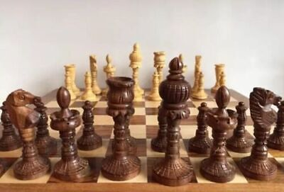 £62 • Buy Large 14x14  Chess Set Storage Slots Hand Carved Wooden Pawns Board Games