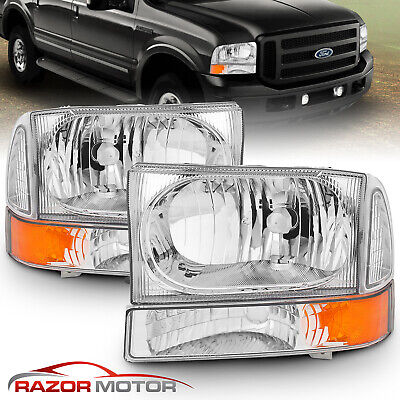 $87.26 • Buy For 99-04 F250/F350/F450/F550 Super Duty/00-04 Ford Excursion Chrome Headlights