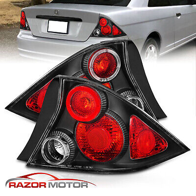 $81.99 • Buy For 2001 2002 2003 Honda Civic 2DR Coupe Altezza Style Black Brake Tail Lights