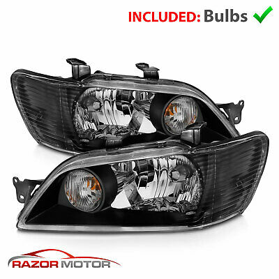 $112.95 • Buy 2002 2003 Mitsubishi Lancer LS ES OZ Black Euro Style Headlights Pair