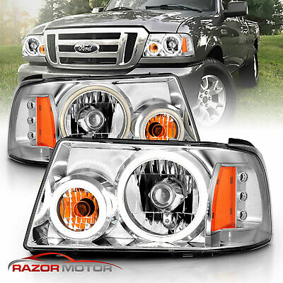 $160.99 • Buy [LED Halo] 01-11 For Ford Ranger Pickup Truck Chrome Headlights Head Lamps Pair