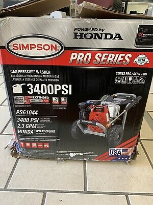 $549.99 • Buy Simpson PS61044 Pro Series 3400 PSI 2.3GPM Gas Pressure Washer (Honda Engine)