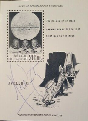 $2500 • Buy Neil Armstrong Autographed Belgium Commemorative Stamp Block Rare!!!