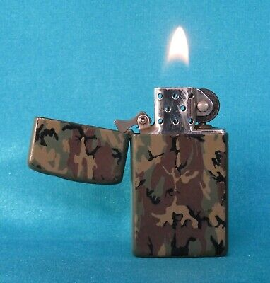 AU20.50 • Buy Collectable 1990 Camouflage Slim Zippo Lighter. Working!