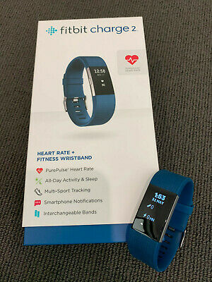 AU56 • Buy Fitbit Charge 2 Heart Rate Fitness Tracker Blue Large