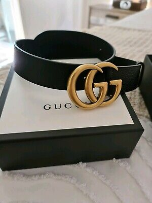 AU580 • Buy Authentic Like New Black 4cm Buckle Gucci Double G Brass Belt
