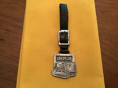 $28.95 • Buy Vintage Caterpillar Metal Pocket Watch Fob ~With Leather Strap~Perkins Milton Co