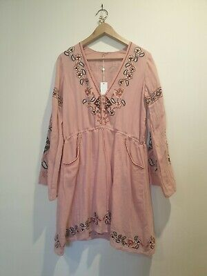 AU51 • Buy Spell Sample Tunic Embroidery Pink