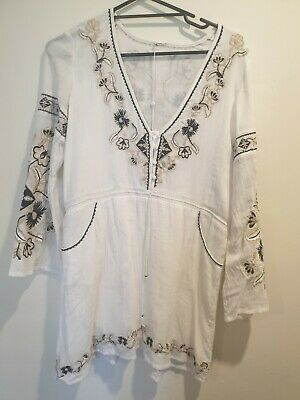 AU33 • Buy Spell Sample Tunic Embroidery White