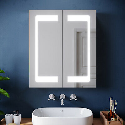 £154.99 • Buy 600x700mm Dual-Sided Wide Mirror LED Lights Sensor Switch Cabinet For Bathroom