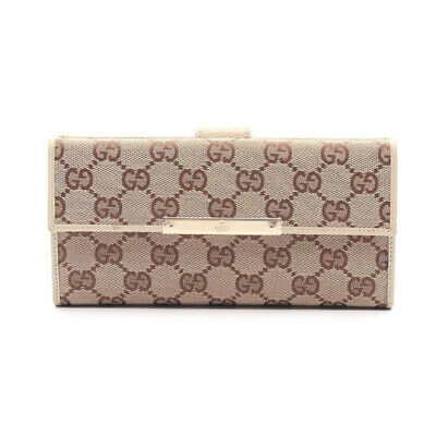 $304 • Buy GUCCI GG Canvas W Hook Long Wallet Canvas Leather Beige