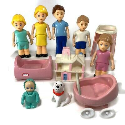 $49.95 • Buy Vintage Little Tikes Pink Dollhouse Baby Dog Family Crib Stroller Lot