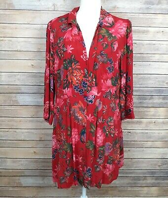 $28 • Buy Zara Womens Dress Red With Floral Print Collared Button Front Dress Size XXL