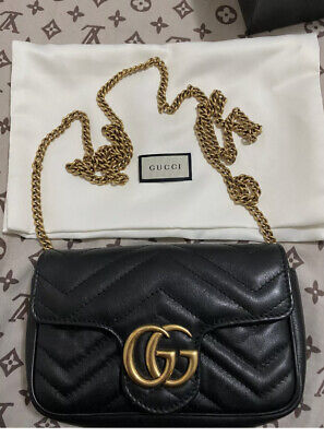 AU760 • Buy Gucci Black Super Mini GG Marmont Bag RRP $1240 6 Mths Old With Receipt Perfect