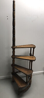 $325 • Buy Antique Architectural Solid Wood Spiral Library Ladder - 4 Step - Made In Italy
