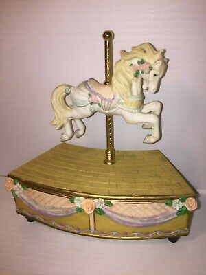 $9.99 • Buy Lefton China Hand Painted Carousel Horse Music Box  Over The Rainbow  Works