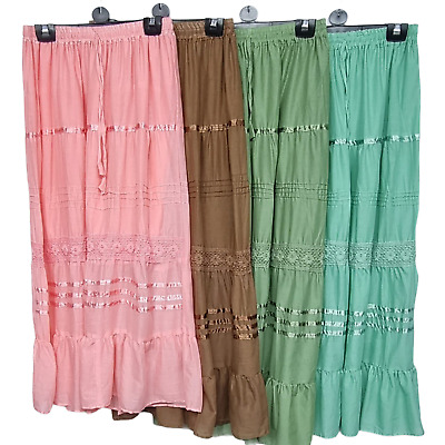 Cotton Skirt Maxi Embroidered Lace Gypsy Boho Casual Festival 10 12 14 16 18 20 • 13.99£