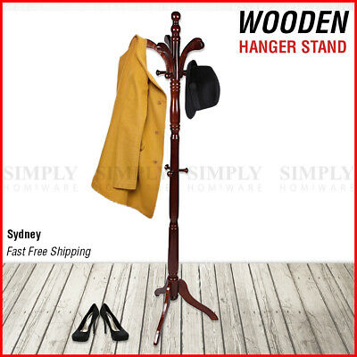 AU64.90 • Buy Wooden Coat Stand Rack Clothes Hanger Hat Tree Vintage Jacket Bag Umbrella Hook