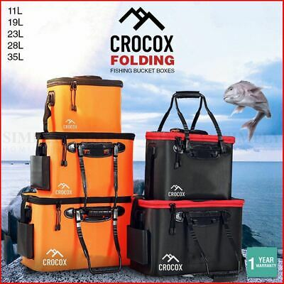 AU16.49 • Buy Crocox Fishing Boxes Bucket Tackle Storage Plastic Live Bait Folding Small Large