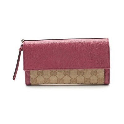 $423 • Buy GUCCI GG Canvas Folded Long Wallet Leather Canvas Beige Pink