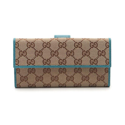 $425 • Buy GUCCI GG Canvas W Hook Long Wallet Canvas Leather Brown Emerald Green