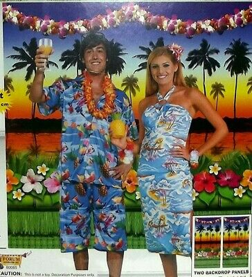 LUAU BACKRDOP Scene Setter Wall SUNSET Party Room Decorations Palm Trees Lei  • 6.31£