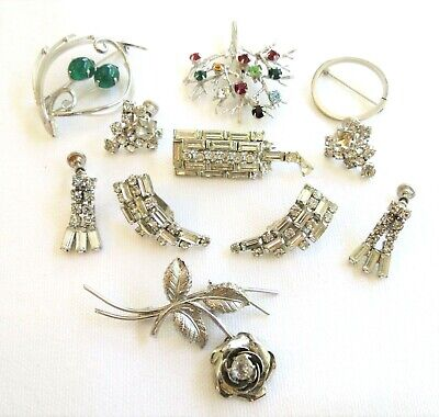$ CDN55.52 • Buy Lot Of STERLING SILVER & Silver Tone Brooches & Earrings 2 Sterling Pieces