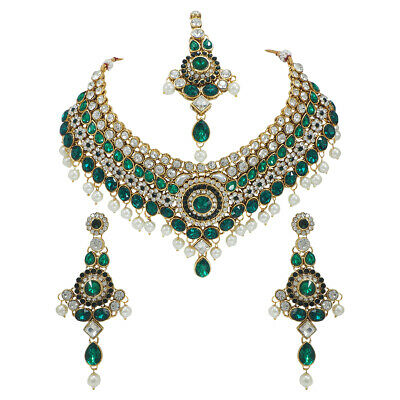$48.74 • Buy Indian Bollywood Style Diamante Green Kundan Pearl Gold Tone Bridal Jewelry Set