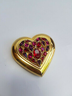 YSL Mirror. Yves Saint Laurent Vintage Gold Tone Heart Shape Compact With Red An • 130£