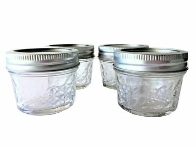 $9.99 • Buy Ball Quilted Crystal Mason 4oz Jelly Jars 4-pack With Lids And Bands Made In USA