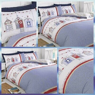 REVERSIBLE BEACH HUT DUVET COVER SET. SEASIDE, RED, WHITE, BLUE. 3 Sizes. • 17.99£