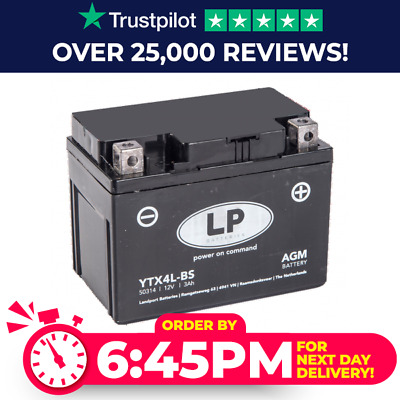 Genuine YTX4L-BS High Power AGM Motorbike Motorcycle Battery YTX4LBS • 17.99£