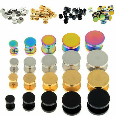 1 Pair Surgical Steel Fake Cheater Earring Stud Ear Plug Flesh Tunnel Piercing • 2.26£