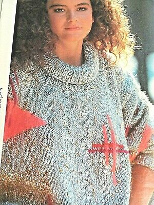 LADIES JUMPER KNITTING PATTERN GEOMETRIC DESIGN 33-40 Inch Bust Vintage MOHAIR🎀 • 0.99£
