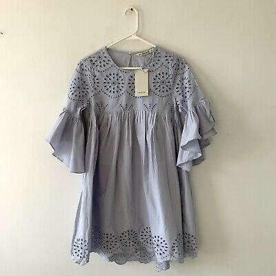 $29.99 • Buy Zara Blue Cotton Embroidered Dress With Perforations Size XS NWT