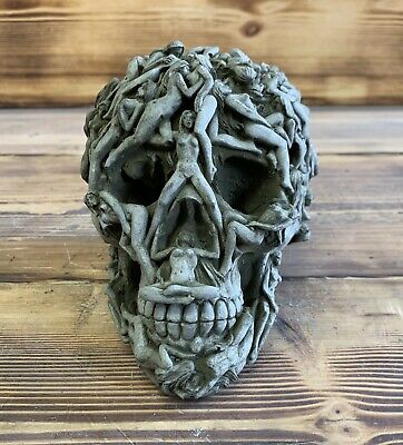 Stone Garden Naked Lady Skull Gothic Human Head Ornament Statue • 19.95£