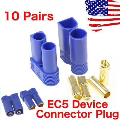$12.29 • Buy 10 Pairs EC5 Device Connector Plug For RC Car Plane Helicopter Battery Lipo ESC