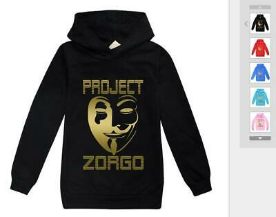 AU16.98 • Buy Gold Project Zorgo Unisex Boys Kids Girls Long Cotton Sleeved Sweater Hooded New