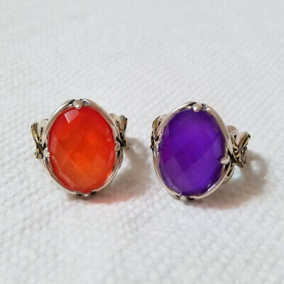 $ CDN64.09 • Buy Carolyn Pollack/qvc Sterling/brass Orange Or Purple Mother-of-pearl Ring