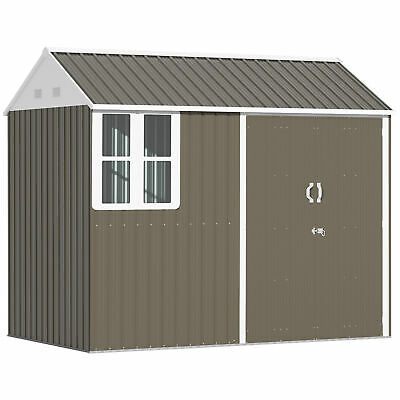 Outsunny 8x6 Ft Corrugated Metal Garden Storage Shed W/ 2 Doors Sloped Roof Grey • 429.99£