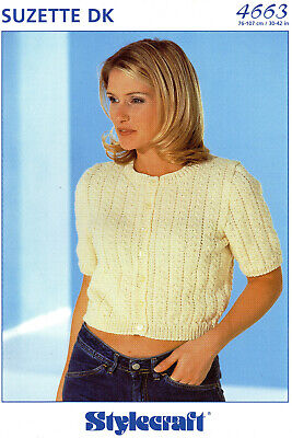 4663 Knitting Pattern For Lady's DK Cropped Cardigan Short Sleeves 30-42  Cable • 2.19£