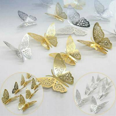 AU3.22 • Buy 12Pcs 3D Butterfly Wall Stickers Fridge Sticker Decals Home Room DIY Decor AU