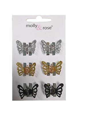 £2.72 • Buy Black Silver Gold Glitter Small Butterfly Claw Clips