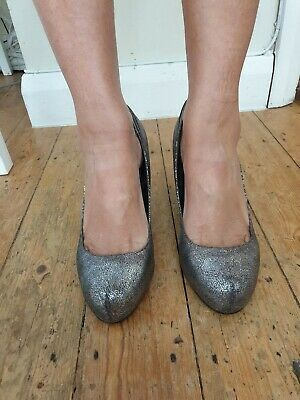 Woman's Next Pewter Heeled Shoes Size 8/42 • 12£