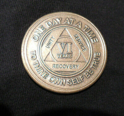 $3.20 • Buy Aa Bronze Alcoholics Anonymous 6 Year Sobriety Chip Coin Token Medallion