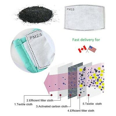 $ CDN18.68 • Buy  Filters For Reusable Face Mask PM2.5 Activated Carbon Insert Replacement 10-100