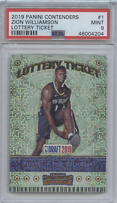 $120 • Buy Zion Williamson 2019 20 Panini Contenders Lottery Ticket Rookie Rc Psa 9