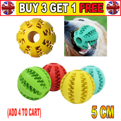 Dog Treat Ball Interactive Chew Resist Toys Teeth Clean Food Dispenser FeederCB • 3.79£